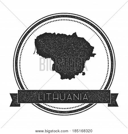 Retro Distressed Lithuania Badge With Map. Hipster Round Rubber Stamp With Country Name Banner, Vect