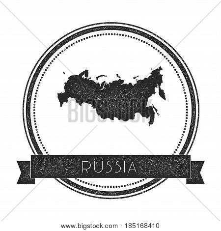 Retro Distressed Russian Federation Badge With Map. Hipster Round Rubber Stamp With Country Name Ban