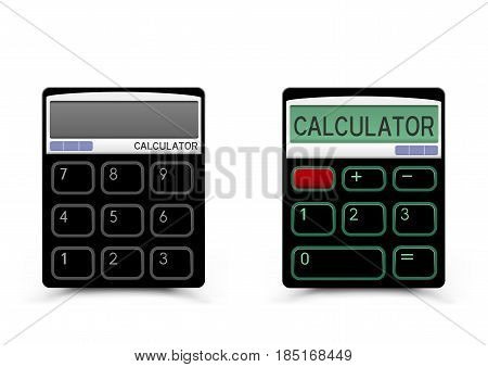 Turn on and off black calculator icon with shadow on white background. Modern count tool