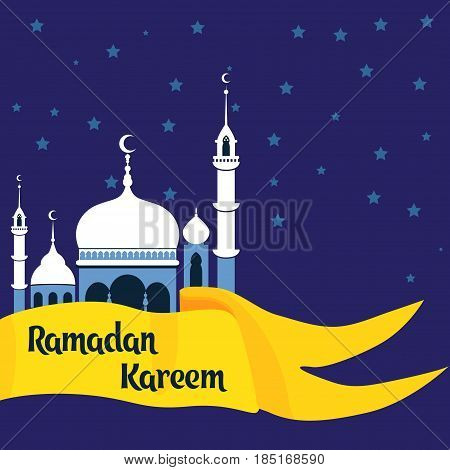 Crescent moon decorated with zentangle for muslim community festival Eid Al Fitr Mubarak. Greeting card template