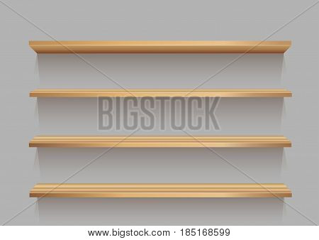 Empty wooden store shelf template with shadow for goods on gray background. Frame supermarket shop furniture design. Demonstration board