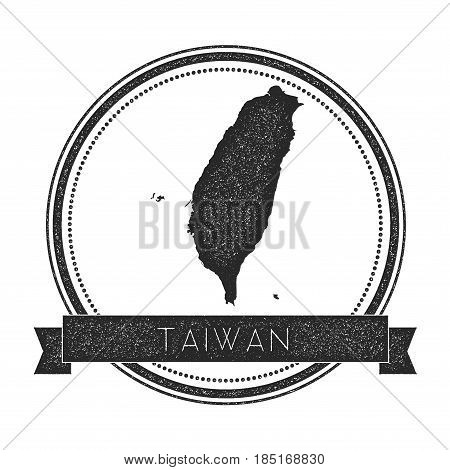 Retro Distressed Taiwan, Republic Of China Badge With Map. Hipster Round Rubber Stamp With Country N