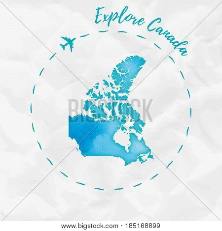 Canada Watercolor Map In Turquoise Colors. Explore Canada Poster With Airplane Trace And Handpainted