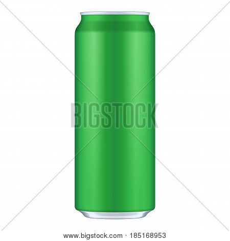 Green Metal Aluminum Beverage Drink Can 500ml. Mockup Template Ready For Your Design. Isolated On White Background. Product Packing. Vector EPS10 Product Packing Vector EPS10