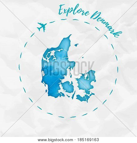 Denmark Watercolor Map In Turquoise Colors. Explore Denmark Poster With Airplane Trace And Handpaint