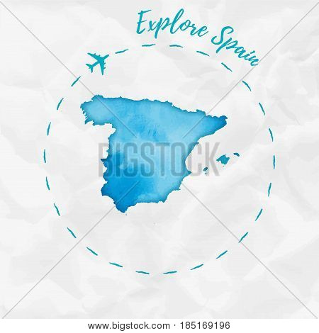 Spain Watercolor Map In Turquoise Colors. Explore Spain Poster With Airplane Trace And Handpainted W