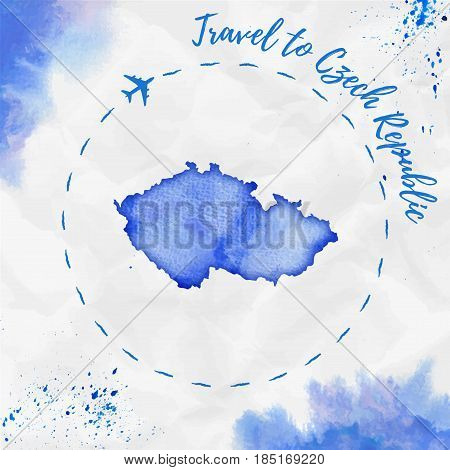 Czech Republic Watercolor Map In Blue Colors. Travel To Czech Republic Poster With Airplane Trace An