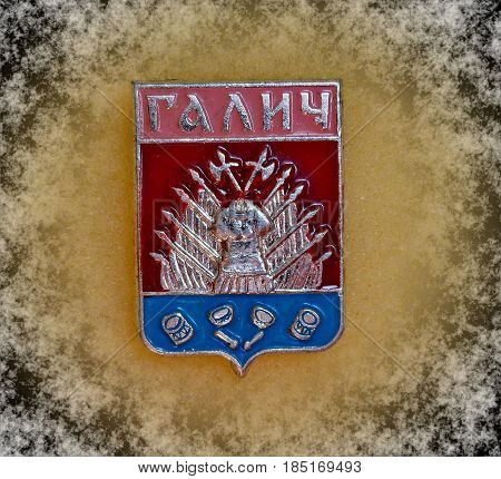 USSR - circa 1977: a badge with the coat of arms of the city of Galich, Kostroma region, from the series