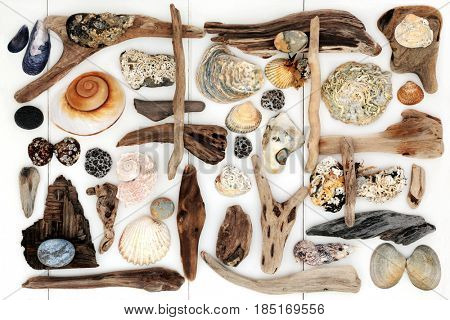 Abstract beach art collage with driftwood, seashells and rocks on white wood forming a background.