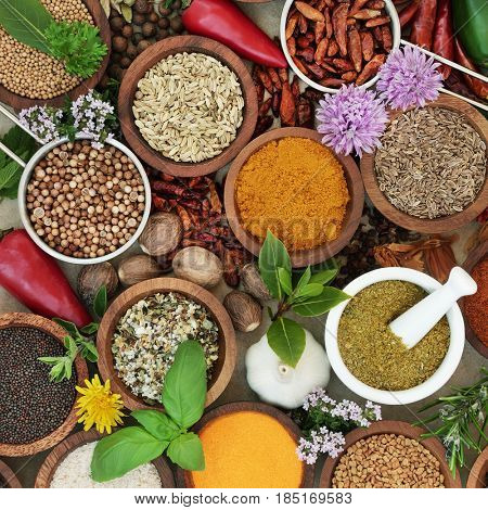 Spice and herb sampler with fresh and dried herbs and spices. High in antioxidants and vitamins.