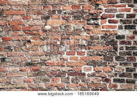 Brickwall pattern, dirty grunge background. Wall of old dark stones.