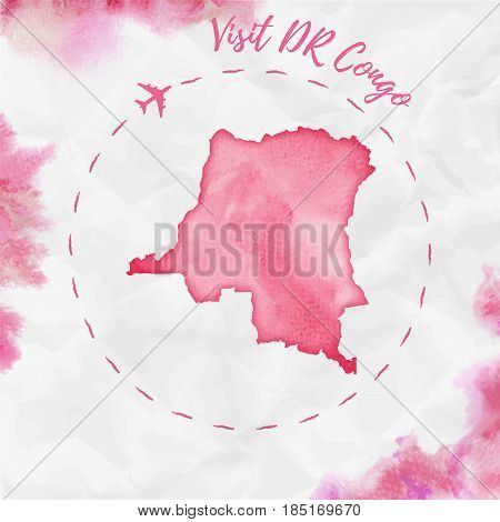 Dr Congo Watercolor Map In Red Colors. Visit Dr Congo Poster With Airplane Trace And Handpainted Wat