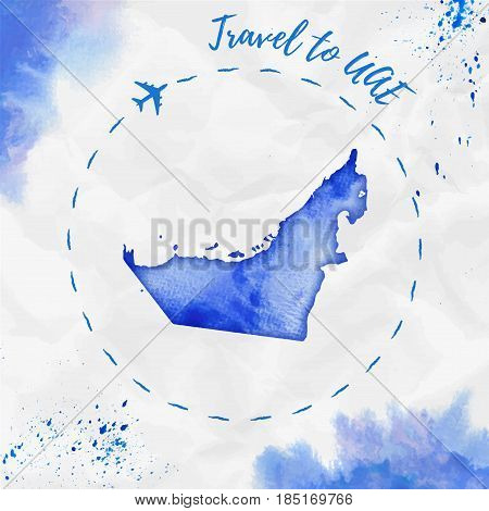 Uae Watercolor Map In Blue Colors. Travel To Uae Poster With Airplane Trace And Handpainted Watercol