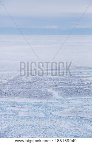 Ice Field Of Hummocks. Lake Baikal