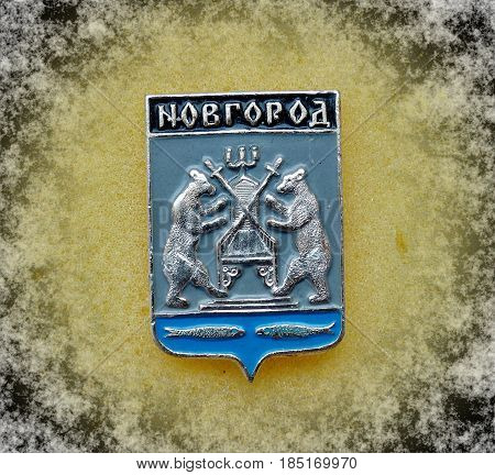 USSR - circa 1977: a badge with the coat of arms of the city of Novgorod, Novgorod region from the series