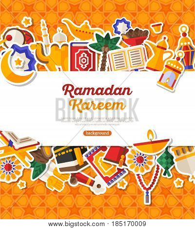Ramadan Kareem Banner With Flat Sticker Icons Set. Vector illustration. Islamic Concept. Horizontal White Frame with Place for your Text on Orange Background. Koran, Traditional Lanterns, Dates