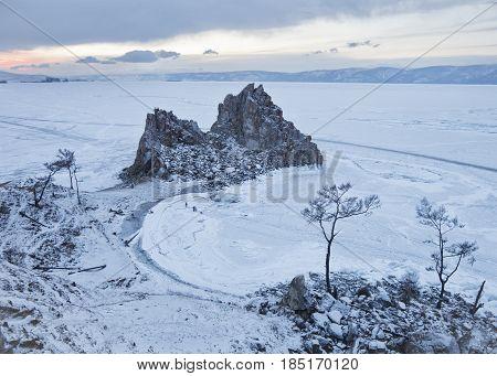 Rock Shamanka. Cape Burhan, Lake Baikal, Winter Landscape.