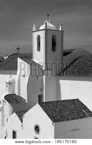 Black and white image of the Igreja de Santiago (Santiago Church) Tavira Algarve Portugal