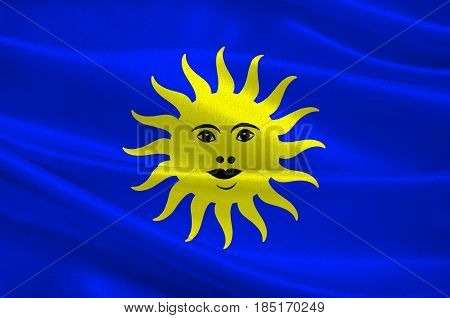 Flag of Lure is a commune in the Haute-Saone department in the region of Bourgogne-Franche-Comte in eastern France. 3D illustration