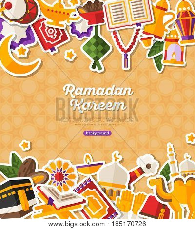 Ramadan Kareem Banner With Flat Sticker Icons Set. Vector illustration. Islamic Concept. Horizontal Borders, Place for your Text on Bright Background. Koran, Traditional Lanterns, Dates