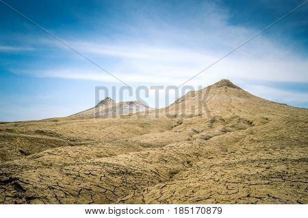 Muddy volcanoes, Buzau county, Romania. Active mud volcanoes landscape in Europe.