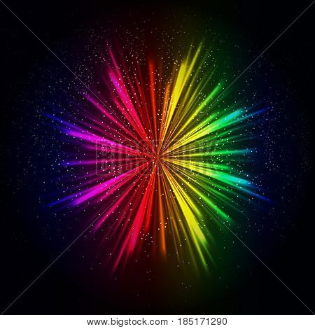Rainbow light rays background, abstract colorful burst.