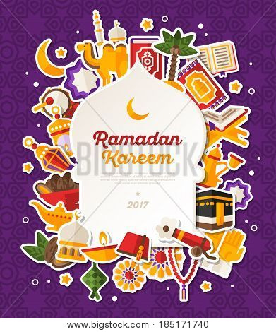 Ramadan Kareem Banner With Flat Sticker Icons Set. Vector illustration. Islamic Concept. White Mosque Shape Frame with Place for your Text on Violet Background. Quran, Traditional Lanterns, Dates