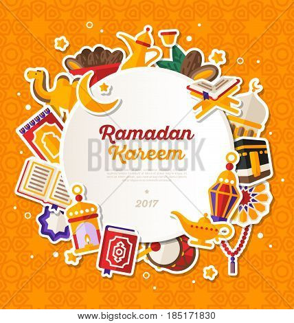 Ramadan Kareem Banner With Flat Sticker Icons Set. Vector illustration. Islamic Concept. Circle White Frame with Place for your Text on Orange Background. Quran, Traditional Lanterns, Dates