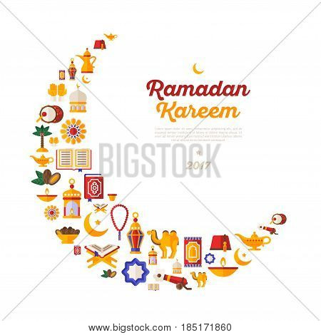 Ramadan Kareem moon with flat arabic icons isolated on white background. Vector illustration. Quran Book, Traditional Lanterns, Crescent with Star, Mosque and Rosary, Iftar Food