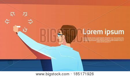 Business Man Back Rear View Writing On Board Copy Space Banner Flat Vector Illustration