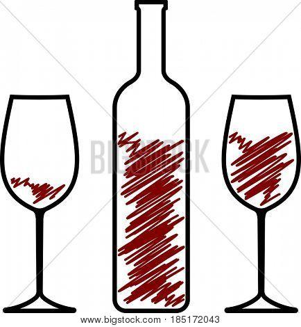Bottle Of Wine And Glass  Raster Illustration