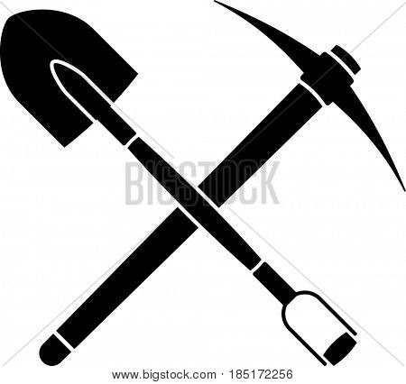 Shovel And Pickaxe Icon  Raster Illustration