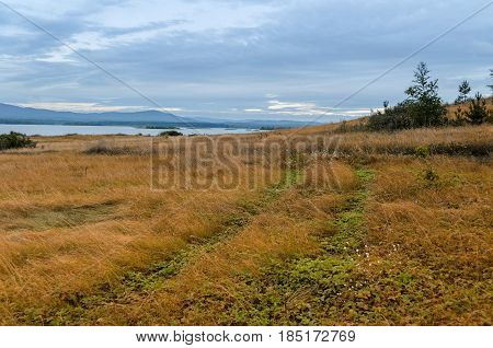 Summer cloudy landscape of Irtyash Lake in Southern Urals in Russia. Grass field near summer lake and mountains on the horizon - summer landscape in cloudy weather. Summer nature background