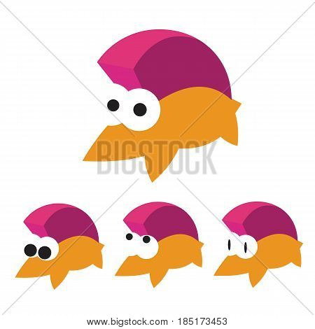 Funny hedgehog icon with set of different expressions eyes. Simple geometric symbol on white background.