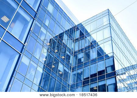 blue modern business buildings