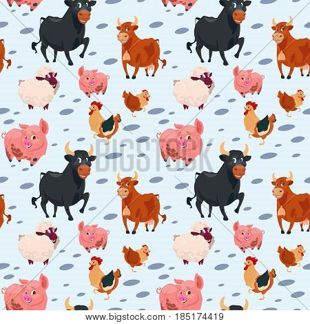 Domestic Animals Collection Farming Seamless Pattern Vector Illustration