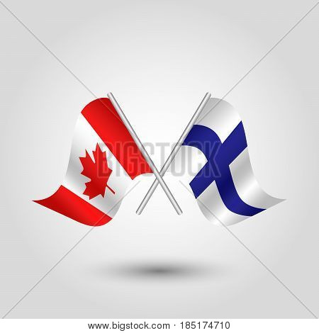 vector two crossed canadian and finnish flags on silver sticks - symbol of canada and finland
