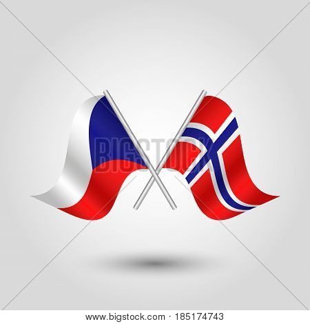 vector two crossed czech and norwegian flags on silver sticks - symbol of czech republic and norway