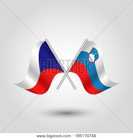 vector two crossed czech and slovenian flags on silver sticks - symbol of czech republic and slovenia