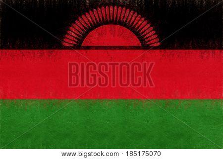Flag Of Malawi Grunge.