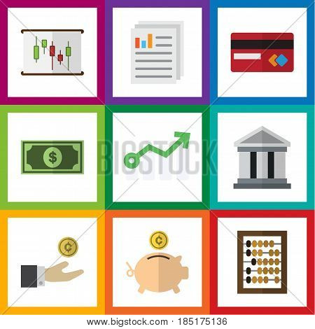 Flat Exchequer Set Of Document, Bank, Counter And Other Vector Objects. Also Includes Paper, Credit, Building Elements.