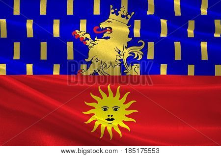 Flag of Dole is a commune in the Jura department in the Franche-Comte region in eastern France. 3D illustration