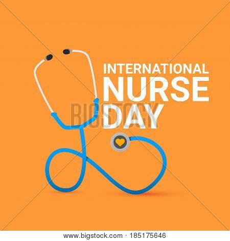 vector international nurse day vector label with stethoscope isolated on orange background. vector nurses icon