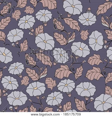 The midnight garden. Vector seamless pattern with flowers. Decorative background for design and decoration of textiles clothes bags covers wallpaper packaging and other surfaces