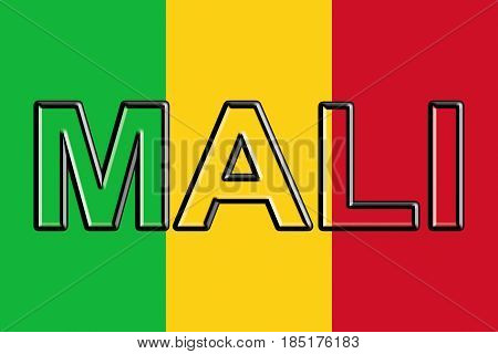 Flag Of  Mali Word.