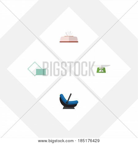 Flat Infant Set Of Children Scales, Pram, Napkin And Other Vector Objects. Also Includes Towel, Napkin, Children Elements.