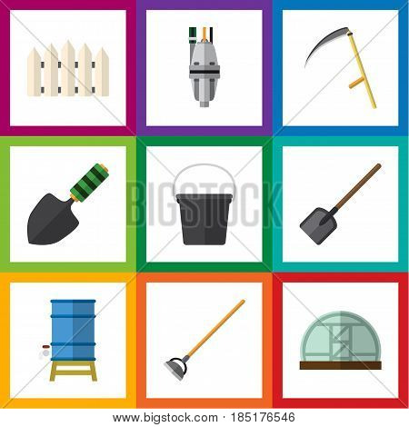 Flat Dacha Set Of Container, Tool, Pump And Other Vector Objects. Also Includes Fence, Tool, Gardening Elements.