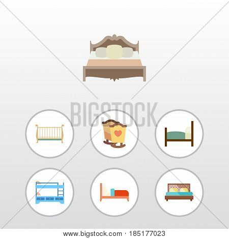 Flat Mattress Set Of Bearings, Cot, Crib And Other Vector Objects. Also Includes Bed, Bearings, Hostel Elements.