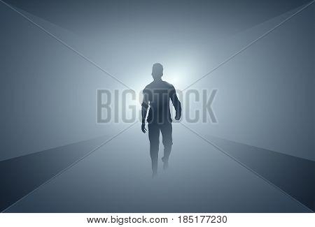 Business Man Silhouette Making Step Forward Full Length Over Grey Light Background Vector Illustration
