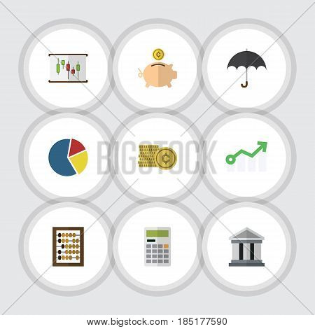 Flat Exchequer Set Of Calculate, Cash, Growth And Other Vector Objects. Also Includes Umbrella, Finance, Pie Elements.